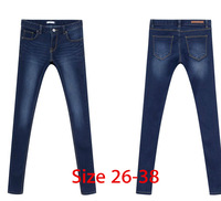 New 2014 Women Fashion Brand Dark Blue Garment Denim Jeans Designer Brand Ladies Pant Straight Leg Pants Plus Size 26-38 3Xl 4Xl