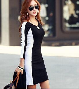 product New Korean fashion fall and winter long-sleeved dress stitching bottoming dress Informal Vestidos Femininos plus size 10.27-42