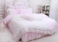 Korean Pink Rose Bedding Set Blue roseFairy Lace Ruffled Bedding Set 4 Piece Queen Duvet Cover Set king, 4pcs