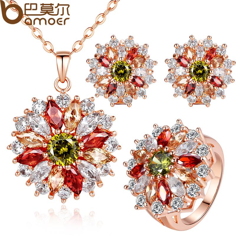 Bamoer colores CZ Diamond italiano para la boda nupcial 3 unids venta al por mayor joyería conjunto envío gratis(China (Mainland))