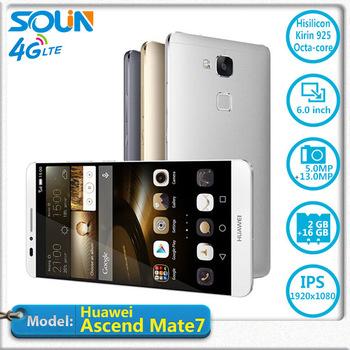 Оригинал Huawei Ascend помощник 7 FDD 4 г LTE Octa ядро металл фюзеляжа 6 '' 1920 x 1080 P 3 г оперативной памяти отпечатков пальцев определить NFC мобильный телефон