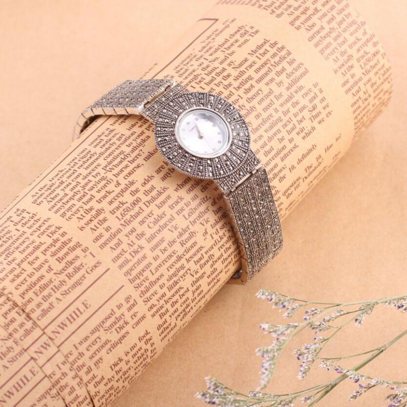Brand New Luxury Elegant 925 Thai Silver Watches Fashion Women s Wrist Watch Bracelet Quartz Watch