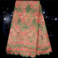 Design No.SLF55-3!Lovely African style popular cotton lace textile ,African guipure lace with green+peach free shipping