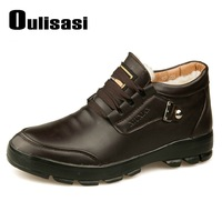 2014 Brand Oulisasi Top Quality Men's Sneakers Winter Leather Wool Flats,Mens Lace-Up Warm Sports Hiking Boots For Men Size38-44