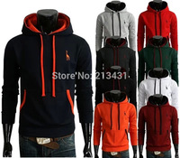 2014 Autumn Winter Men Fashion Hooded Deer Embroidery Fleece Man Casual Pullover Hoodies 9 Colors Plus Size M-2XL