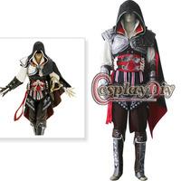 Custom-made Assassin's Creed II Ezio Auditore da Firenze Black Version Cosplay Costume Adult Men's Halloween Convention Costume
