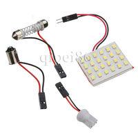 24 SMD Panel 1210 3528 Led White Light Lamp Festoon T10 Dome Bulb BA9S Adapter