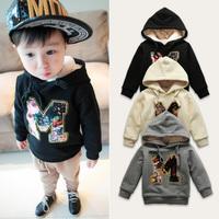 Children's clothing plus velvet sweatshirt 20141031 child baby long-sleeve top male child with a hood sweatshirt