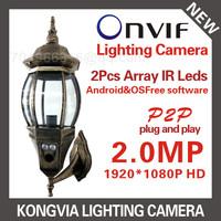 1920*1080P 2.0MP lens IP Camera 2 IR leds ONVIF Waterproof IR CUT Plug and Play Patio Lighting surveillance cameras