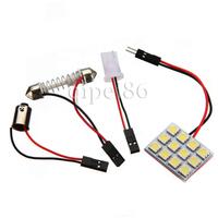 Car Interior Roof Reading Light White 12 SMD 5050 LED Panel Festoon light Lamp T10 Dome BA9S Adapter 12V