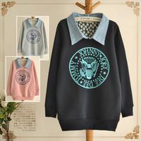 Women fashion Autumn/Winter fleece coat printing pullover hoodies