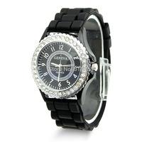 D19 hot-selling newest Fashion Women Bling Crystal Rhinestone Bezel Geneva Silicone Rubber Jelly Watch Free Shipping