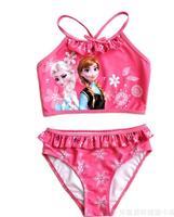 Girl's Cartoon Swimwears Frozen Elsa&Anna Split Swimsuit :Girls Floral Swimwear  Bikini Swim Wear Casual Beach Holiday Wear