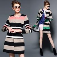 European Fashion Women Wide Slim Striped Contrast Color Trench Coat 2014, Autumn Winter Female Long Women Outwear Clothes SML