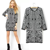 women Ladies Baroque Print 3/4 Sleeve pullover Sweater Knitwear Slim Bodycon Mini Knitted casual Dress for winter autumn spring