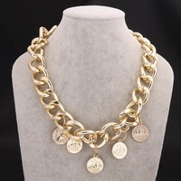 F09261 JMT 1Piece Coins Design Metal Necklaces In Autumn and Winter Best Gift For Ladies Women Clavicle Chain Style Freeshipping