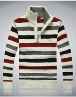 High quality men stripe sweaters v-neck zipper collar men sweater casual winter thick warm sweaters 3 colors big sizes