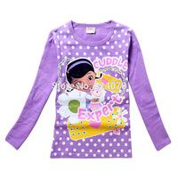 Doc Mcstuffins girls long sleeve t shirts cotton spring cartoon child kids baby shirts 3-8Y girls t-shirts free shipping