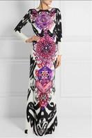 HIGH QUALITY New 2014 Women's Long Sleeve Bohemian Novelty Print Slim Jersey Silk Stretch Slim Maxi Dress Plus size Long Dress