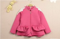 New Fashion Space Cotton Fix Pearls Girls Outerwear Children Princess Outerwear Jackets Cardigans Pink Navy Wholesale