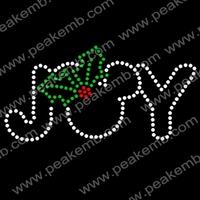 Joy Rhinestone Christmas Transfers Iron On Hotfix Motifs Designs Wholesale For Garment 50Pcs/Lot Free Shipping