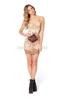 2015 New Summer casual dress printed pyramid Slim Mini club Dresses Women Clothing Drop Shipping 005