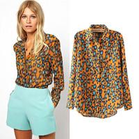 New 2014 women Fashion Ladies' Elegant Leopard print blouse shirt long sleeve casual shirts slim office lady brand designer tops