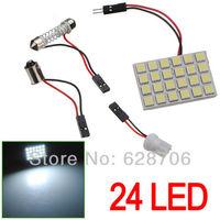 24 LED Panel 5050 SMD Car Pure White Dome BA9S T10 Festoon Adapter Light Lamp