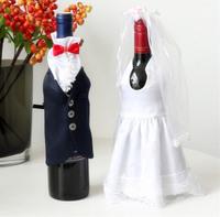 Free shipping! European style Wedding Dress wine bottle Bag Wine Bottle Covers Unique Crafts Decoration Wedding Gifts