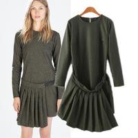 Women ladies winter autumn spring apron ruched folded solid novelty Modern Fashion Folded Long Sleeve Casual Basic Dress vestido