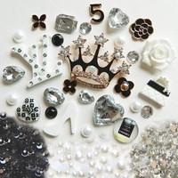 Phone Deco Diamond Crown Alloy Cabochon Set Kits of High Heel Handbag Imitated Pearls Bling Rhinestones for DIY Phone Cases