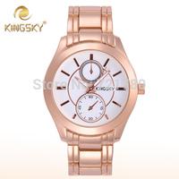 2014 New Relogio Women's Fashion Rose Gold Watch Women Steel Bracelet Casual Dress Watch Kingsky Quartz Clock Female Wristwatch