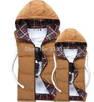 Wholesale Europe and America new winter 2014 men's vest men's fashion hooded down jacket vest plus size cotton vest  jacket