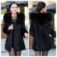 New 2015 Luxury faux Rabbit fur coat Women winter coat Fashion Hooded FoxFur Collar Medium-long lady Overcoat Elegant Women coat