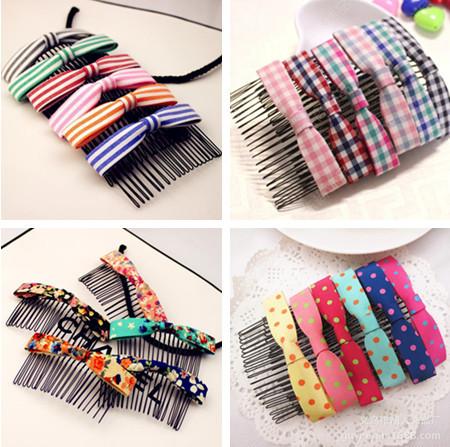 12 Pcs/lot Wholesale Girls' Adorable Polka dot/ Stripe/ Flower/ Plaid Printing Hair Comb Fashion Hair Accessories for Women(China (Mainland))