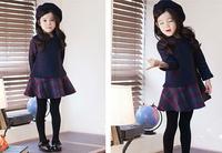 Fall and winter New Long Sleeve Thicken Navy Plaid Splicing Girl Dress Children Fleece dresses Blouse Long Tops