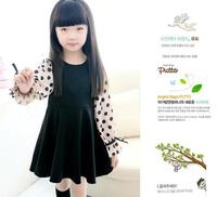 5pcs/lot 2014 New Chiffon Ploka Dot Long Sleeve Cotton Girl Dress Children Spliced Black Dress / Blouse Free shipping 5pc/lot