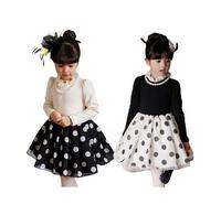 5pc/lot New Autumn Fashion Long Sleeve Ruffle Collar Dot Princess Girls Dress With Pearl Necklace Kids Dress Black White