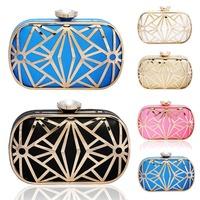 2014 hot new fashion women's PU clutch bag evening bag metal hollow Ms. Clutch banquet bag wholesale