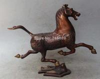 """12"""" China Chinese Bronze Folk Feng Shui Zodiac Year Horse riding Chebi Statue"""