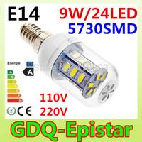 2Pcs/Lot E14-9w-24led-SMD5730 110v,220v High power and energy saving LED Corn Lamps Transparent cover
