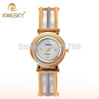 2014 New Relogio Feminino Steel Mesh Gold Bracelet Dress Watch Women Quartz Diamond Fashion Watch Girls Kingsky Women Wristwatch