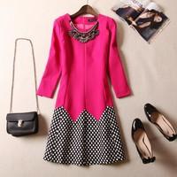 Free Shipping 2014 Brand Autumn women's dresses ladies diamond polka dot women slim three quarter sleeve plus size 3XL dress
