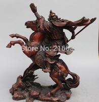 """14"""" China Bronze Dragon Guan Gong Yu Guangong Hold Sword On Running Horse Statue"""