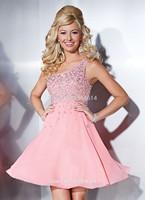 Pink Chiffon Prom Dresses Beaded One Shoulder Criss Cross Straps A-Line Natural Waistline Mini