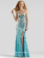 Chiffon Prom Dresses Handmade Sequins Sweetheart Neckline Shoulder Straps Sleeveless Side Slit Sheath