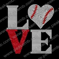 50Pcs/Lot Free Shipping Love Baseball Rhinestone Sports Transfers Iron On Hotfix Appliques For T Shirts