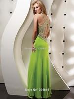 Hot Selling Heavily Beaded Ruched V Neck Criss Cross Shoulder Straps Floor Length Chiffon Prom Dresses