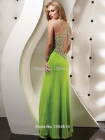 Hot Selling Heavily Beaded Ruched V Neck Criss Cross Shoulder Straps Floor Length Chiffon Prom Dresses