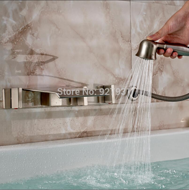 geborsteld nikkel drie handgrepen waterval bad mengkraan wandmontage 5 stuks bad kraan met handdouche(China (Mainland))